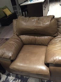 Light Brown leather sofa & chair
