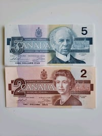 1986 Bird Series $2 & $5 Canadian Banknotes-Crisps Calgary, T2R 0S8
