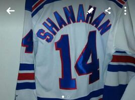 white blue shanahan 14 embroidered hockey jersey s