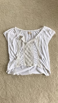white and gray scoop-neck crop top 14 km