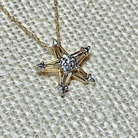 Genuine 10k Yellow Gold Diamond Star Pendant with 10k Chain Ashburn