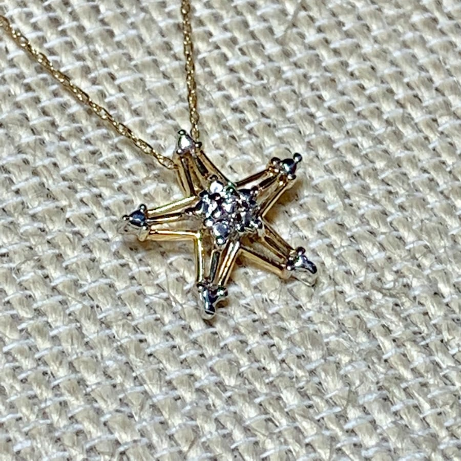 Genuine 10k Yellow Gold Diamond Star Pendant with 10k Chain