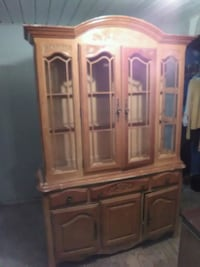 brown wooden cabinet with hutch Pinson, 35126