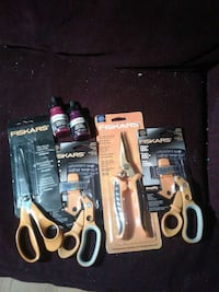 orange and black fiskars plies and scissors