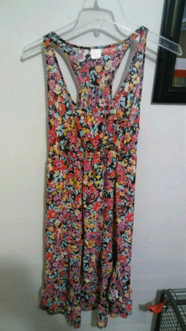 women's red and blue floral dress