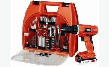 BLACK & DECKER 100 PIECE 18 VOLT RECHARGEABLE DRILL SET