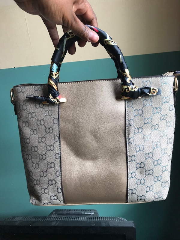 306d64c14a5a Used gray and white leather tote bag for sale in Denville - letgo