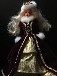 Barbie doll in brown and white long-sleeved fur maxi dress Temple Hills, 20748