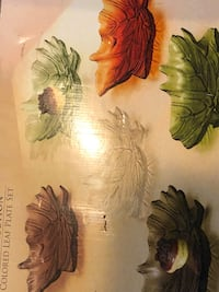 Harvest leaves small glass plate set of 6  20 mi
