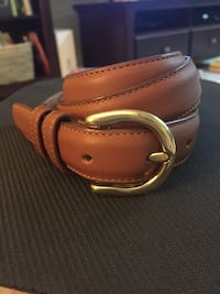 brown leather belt with silver buckle Broadlands, 20148