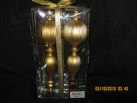 "NEW in PKG - Two 8"" Long Gold Finial Tree Decorations Hamilton"