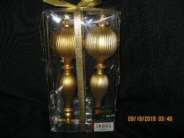 "NEW in PKG - Two 8"" Long Gold Finial Tree Decorations"