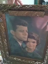 John F. Kennedy photo with brown wooden frame Clinton, 15026
