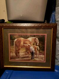 brown wooden framed painting of horse Wichita, 67212