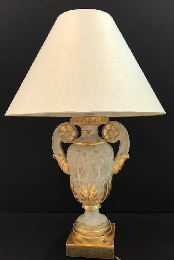 Pair of Vintage Italian Urn Table Lamps with 22kt. Rosettes! 2b743925-972a-44d1-984a-623d055456d0