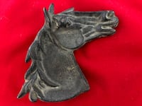 Cast Iron Horse Head Paperweight Tray DESMOINES