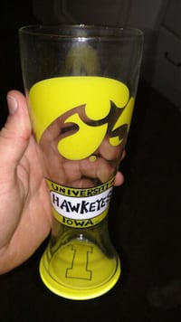 yellow and black hawkeye glass collectible Des Moines, 50310