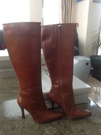 Pair of brown ALDO leather knee-high boots (NEW) Vancouver, V5M 4C3