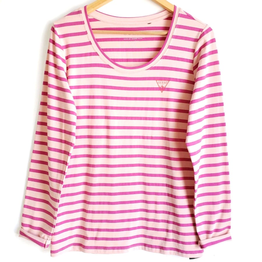 Guess Striped Long Sleeve Sweater Pink Size XL.