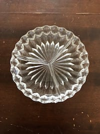 Vintage etched glass 3 compartment dish.