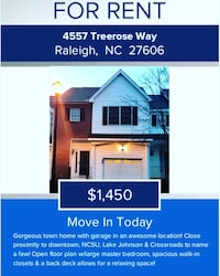 HOUSE For rent 2BR 2.5BA Raleigh