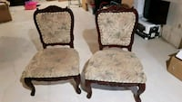 two red cherry wooden framed armchairs Brampton, L6P