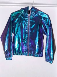 Jacket is Metallic shiny material with hoodie size is petite  Las Vegas, 89102