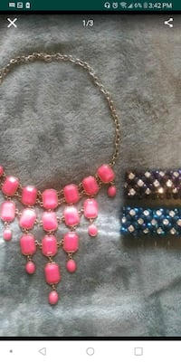 Pink Statement Necklace two Crystal Bracelets Riverside, 92506