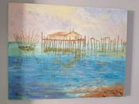 painting of brown house near body of water