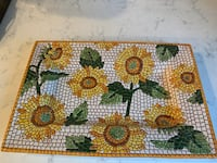New- X-Large Italian mosaic sunflower plate   (Can be hung) Chesterfield, 23838