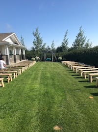 Barnwood wedding arch and benches