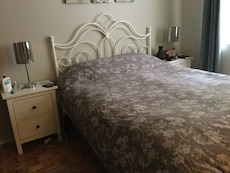Queen duvet with grey and white cover