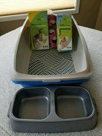 Kitty litter box, liners, dish and bed (2nd pic) Calgary, T3G 4R5