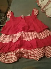 girl's red and white dress