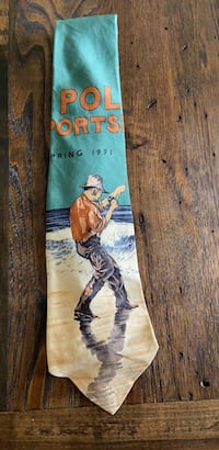 Vintage 90's polo Ralph Lauren fishing themed tie