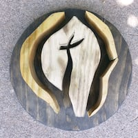 11 in. round hand carved tri-colored wooden cross El Paso, 79912