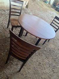 Round brown table