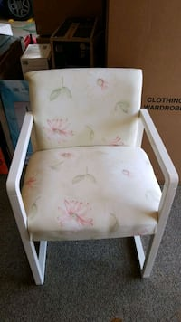 white and pink floral print wooden chair Leesburg, 20175