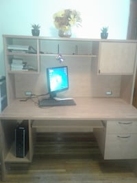 white wooden computer desk with hutch MONTREAL