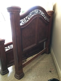 Ornate wood queen bed frame
