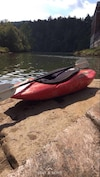 red and black canoe