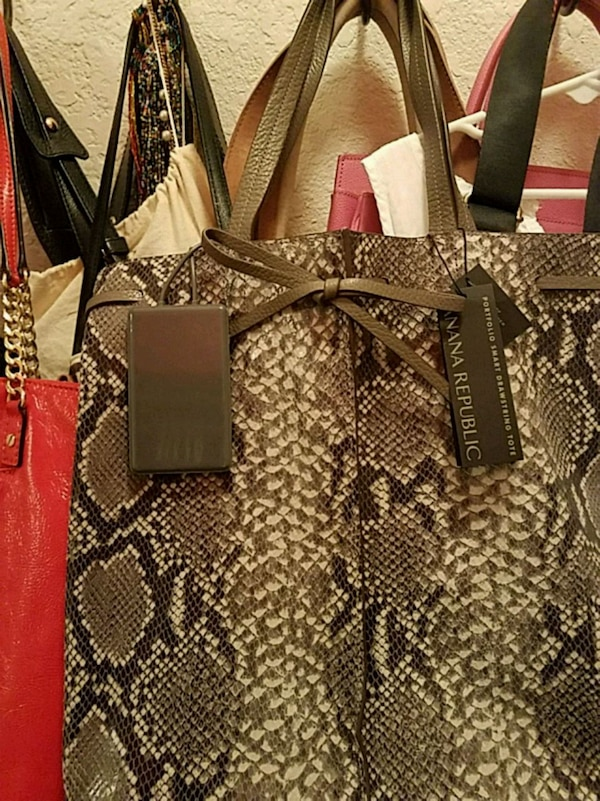 dff312c9 brown and black snakeskin leather tote bag