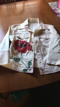 white and red floral zip-up jacket Burnaby, V5G 3B6