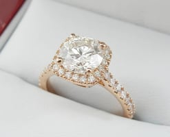 *Christmas Special* 1.70ct Round Diamond in 18k Rose Gold Halo Ring