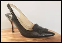 Max Studio Charcoal Grey Leather Slingback Heels  Annandale