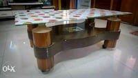 brown wooden table with top glass Bharuch, 392012