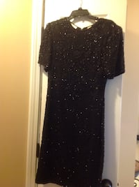 Black glittered crew neck sheath dress sequence size MED