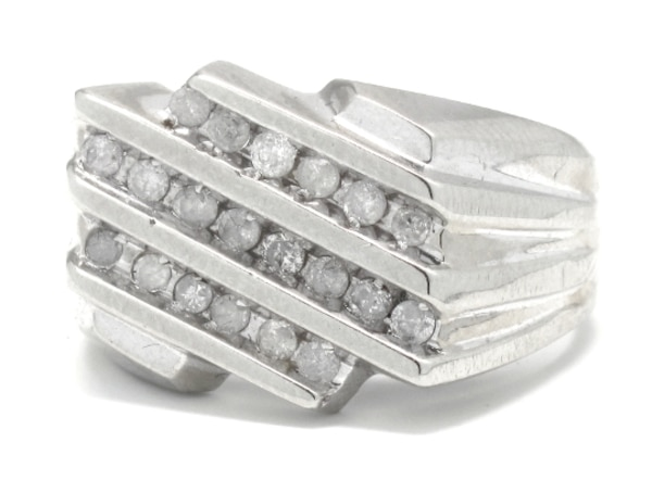 Used Mens 10k White Gold Diamond Cluster Ring For Sale In