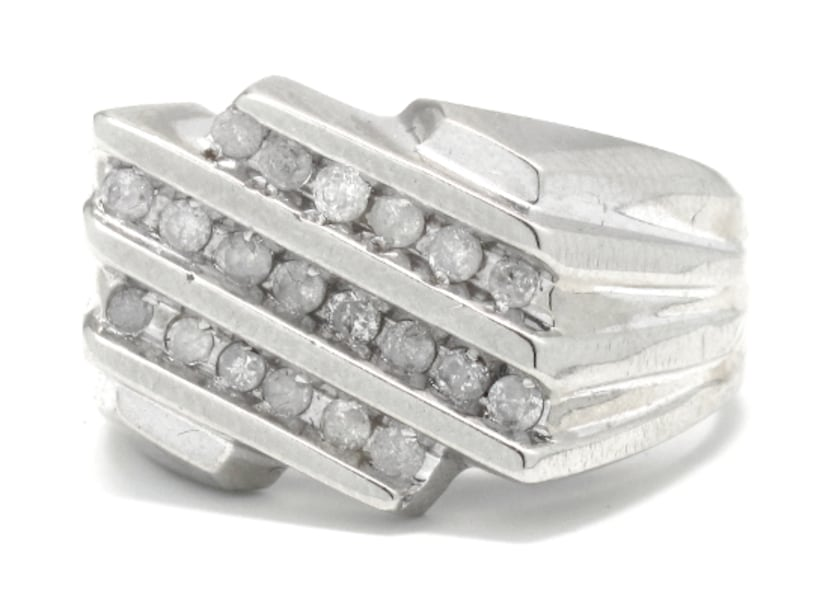 Mens 10K White Gold/Diamond Cluster Ring 93a07c9f-7be9-44a3-a60b-7889d80a4d3d