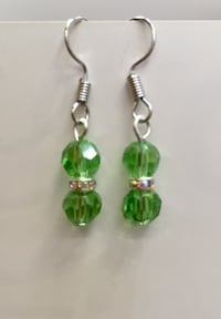Bead earring made with green crystals, spacers, Stainless Steel Materials  548 km